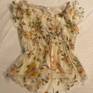 Christian Dior Silk Floral Blouse with Ribbon